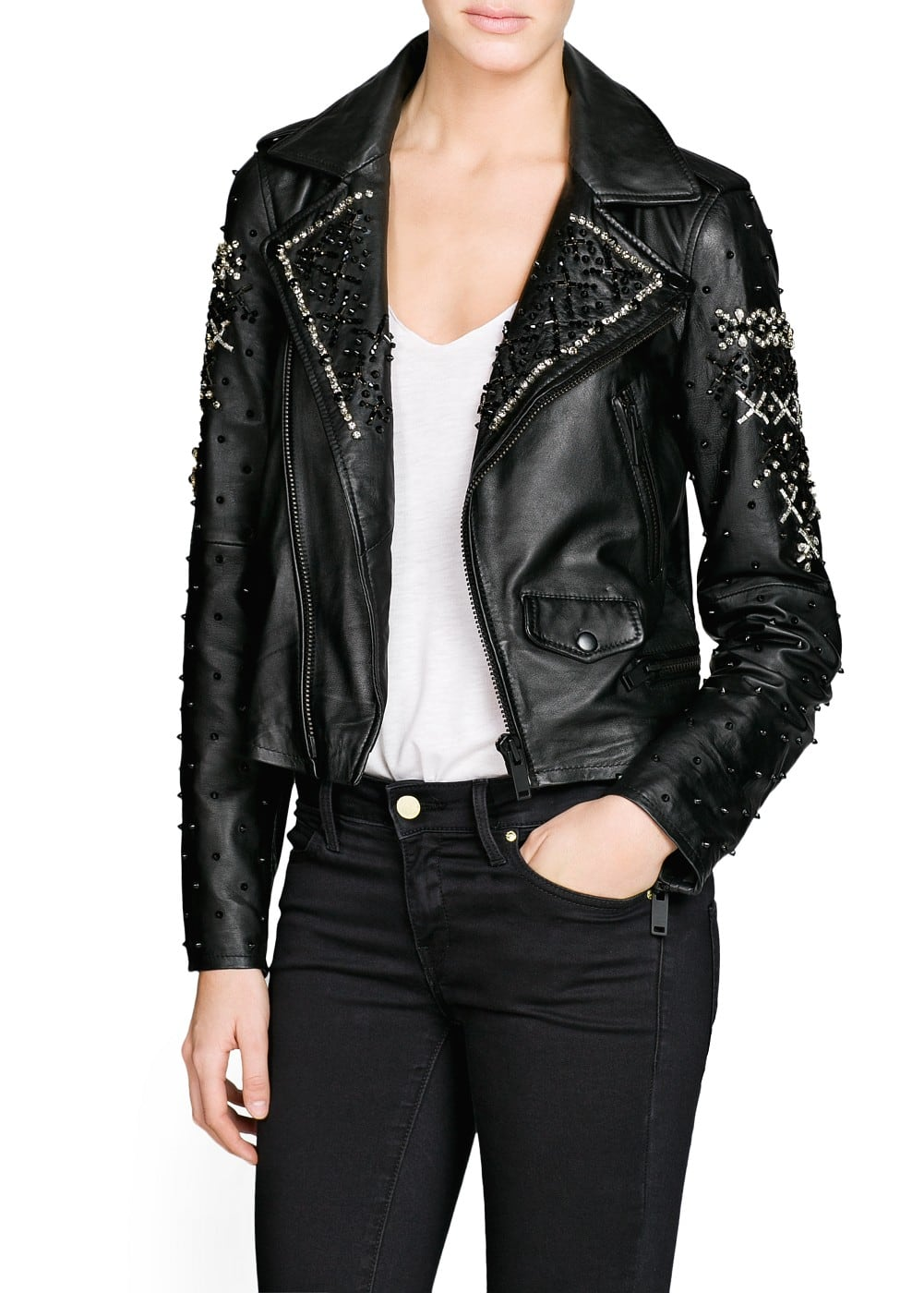 Premium - beaded leather biker jacket | MANGO