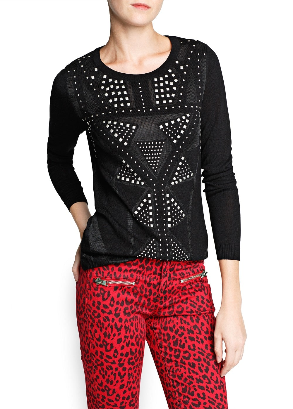 Stud pattern sweater | MANGO