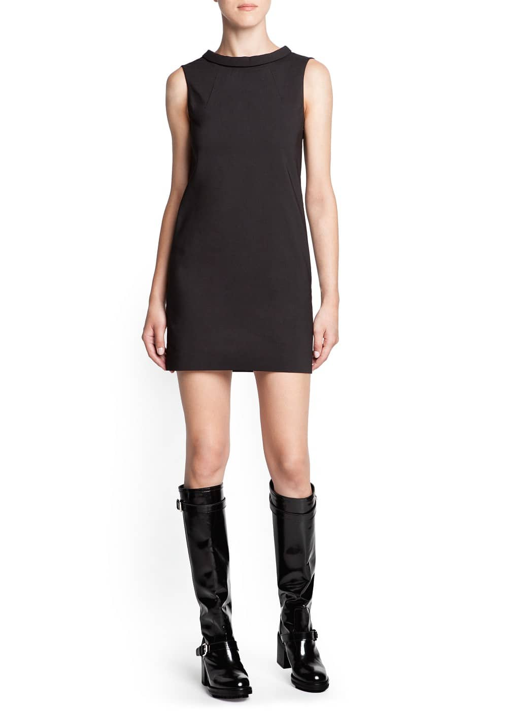 Stand collar shift dress | MANGO