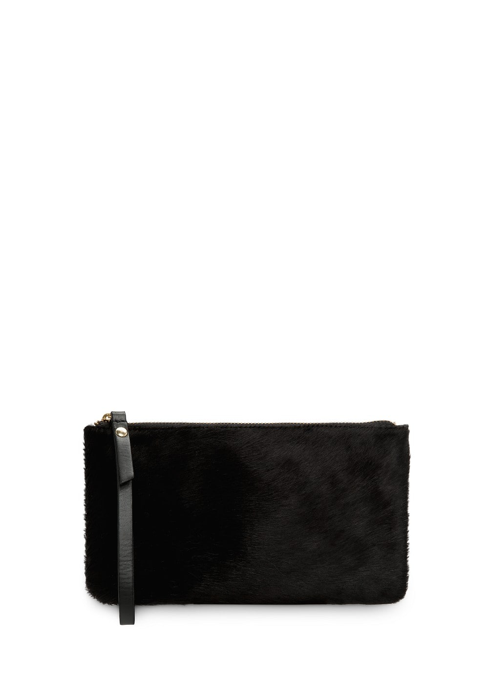 Fur appliqué leather cosmetic bag | MANGO