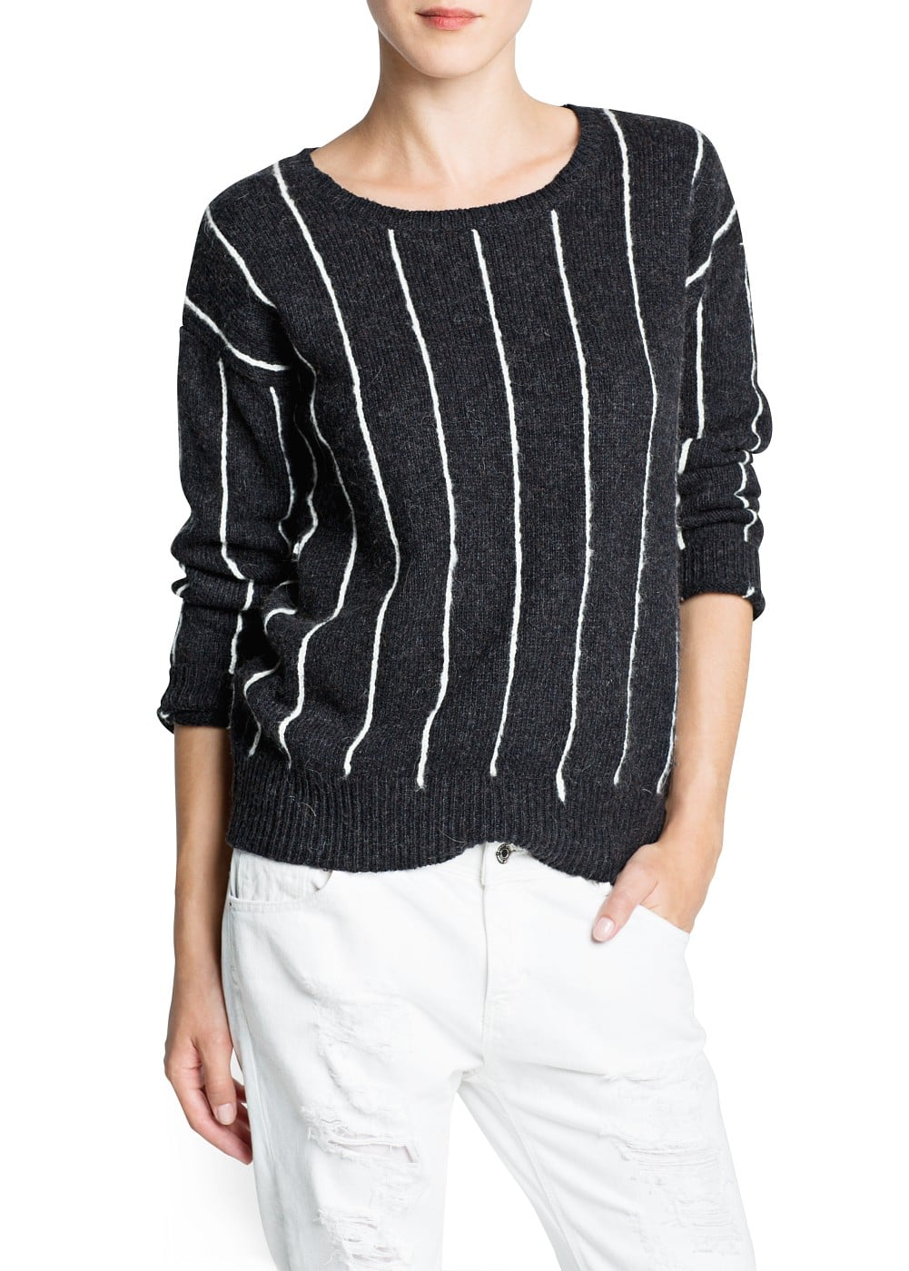 Pinstripe wool cotton-blend sweater | MANGO