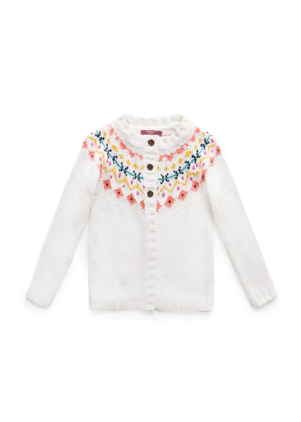 Fair isle chunky knit cardigan | MANGO KIDS