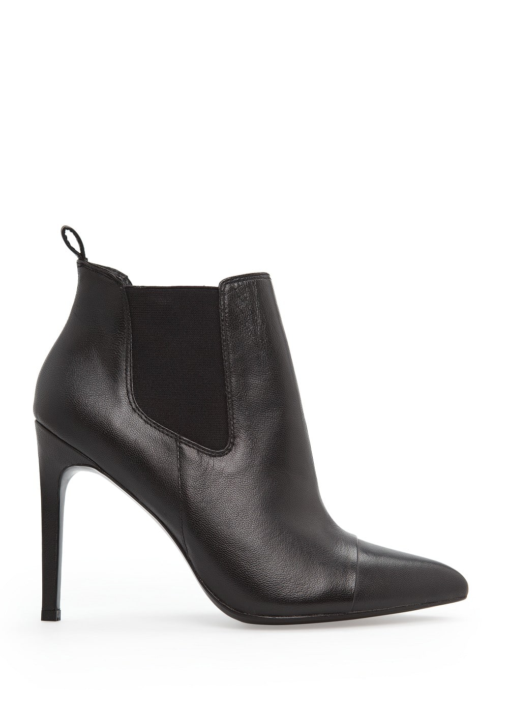 Elasticated panel leather ankle boots | MANGO