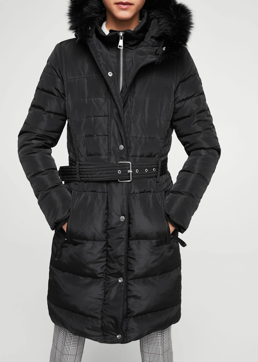 Quilted feather long coat | MANGO
