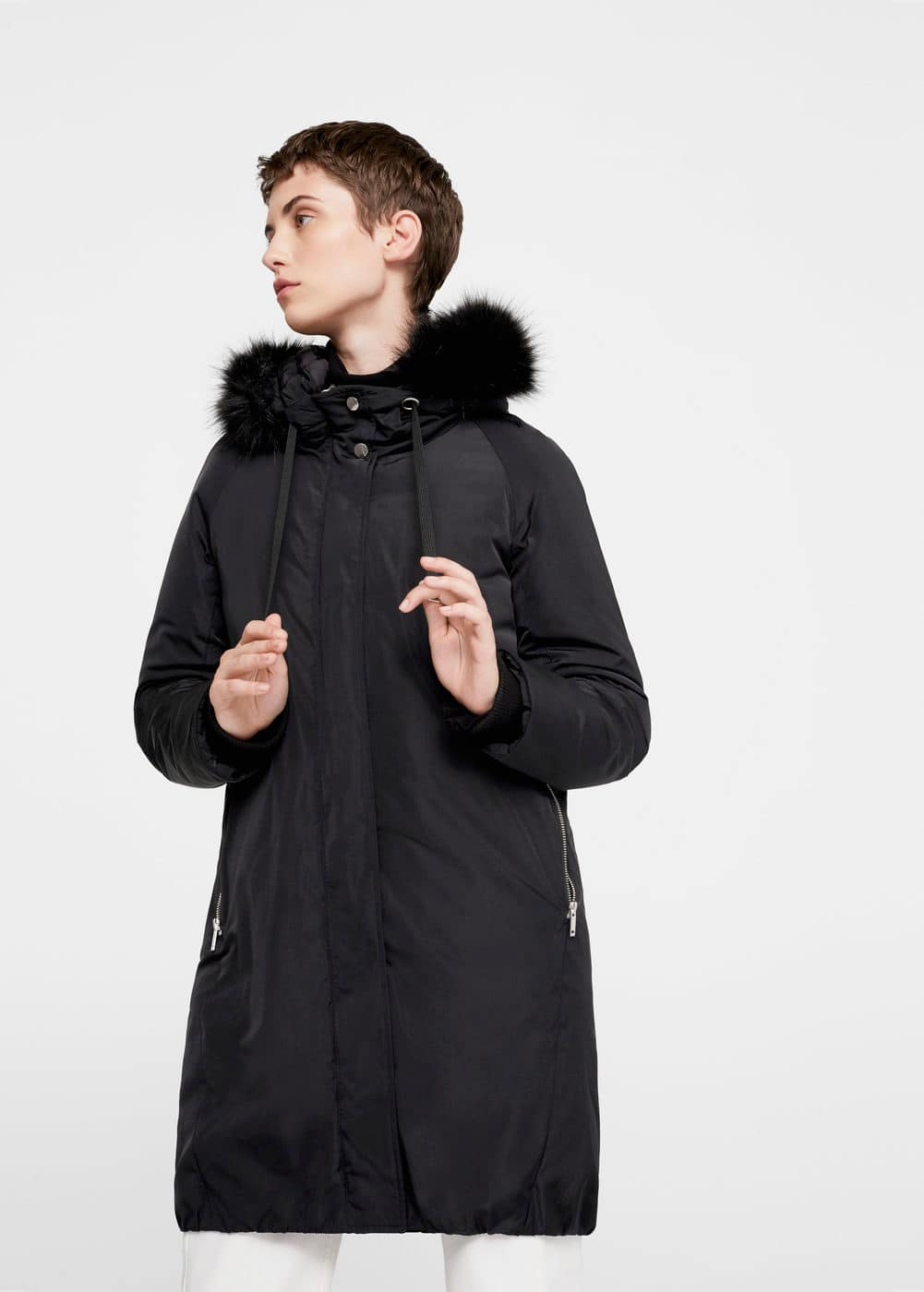 Hooded feather coat | MANGO