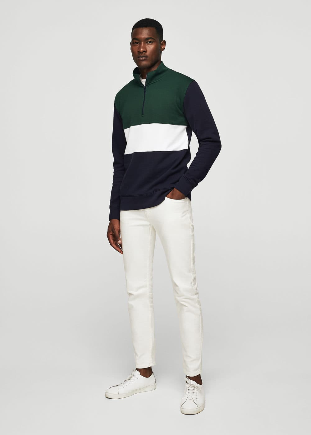Cotton contrast panels sweatshirt | MANGO