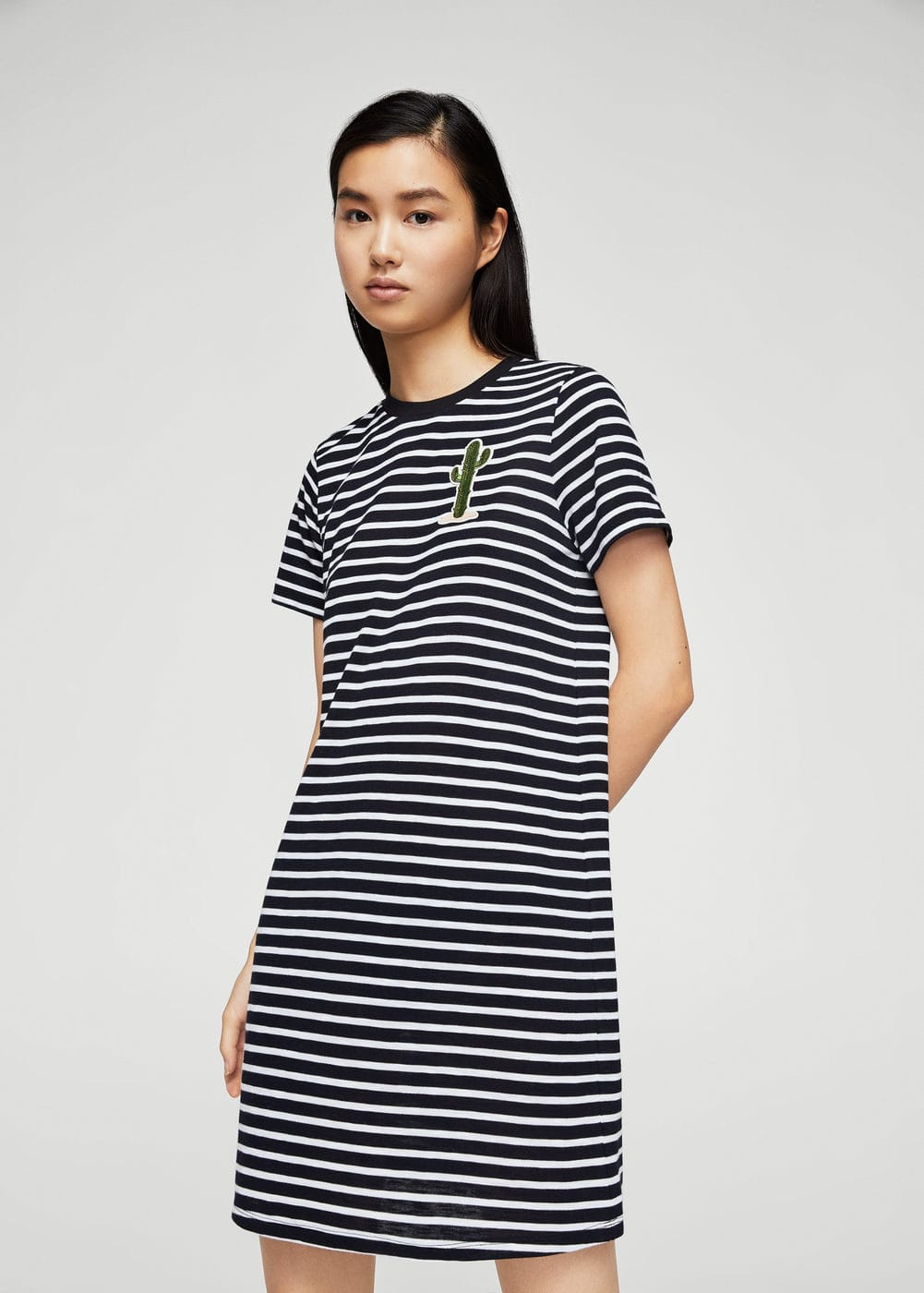 Patch stripes dress | MANGO