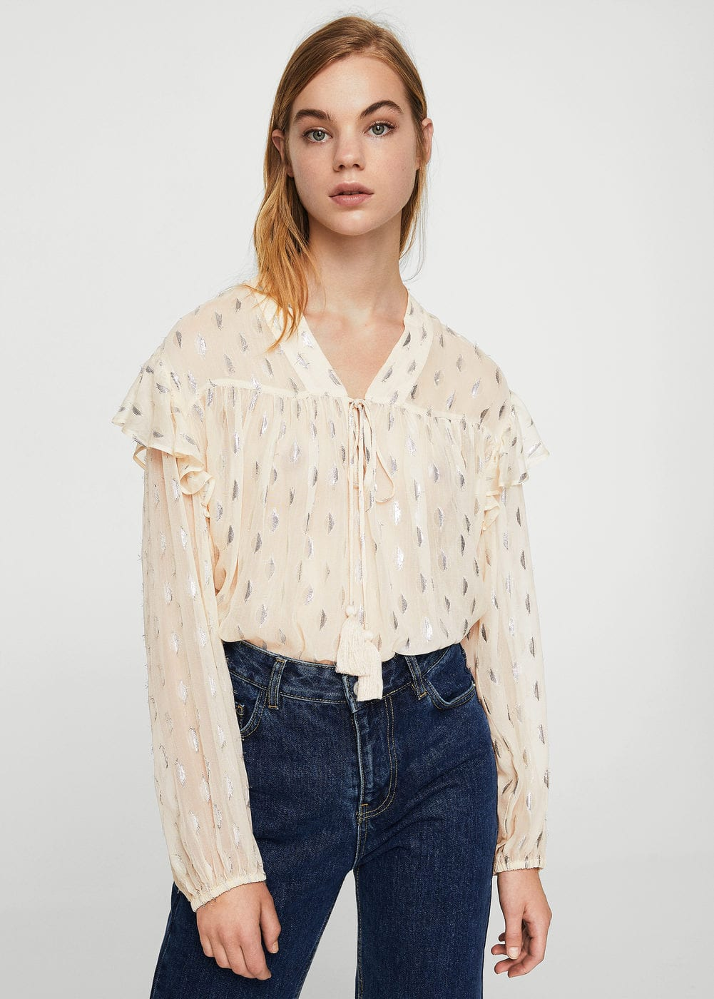 Metallic embroidery blouse | MANGO