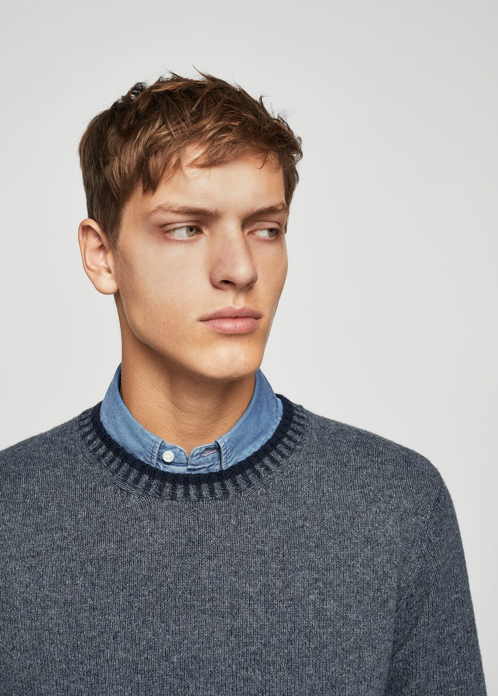 Flecked wool sweater | MANGO MAN