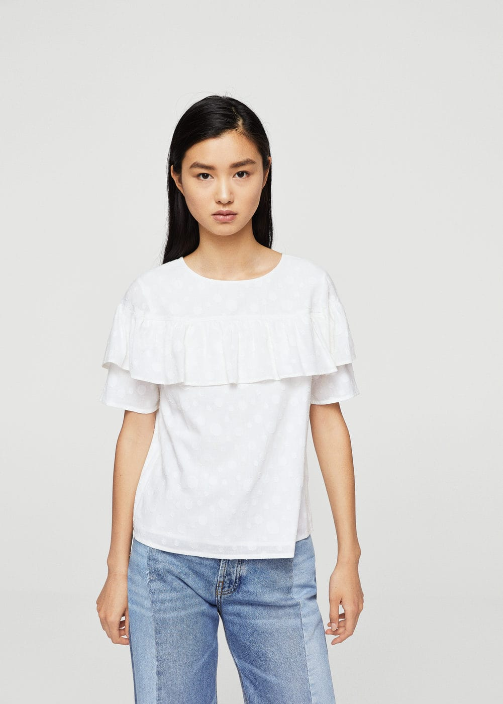 Textured ruffled blouse | MANGO