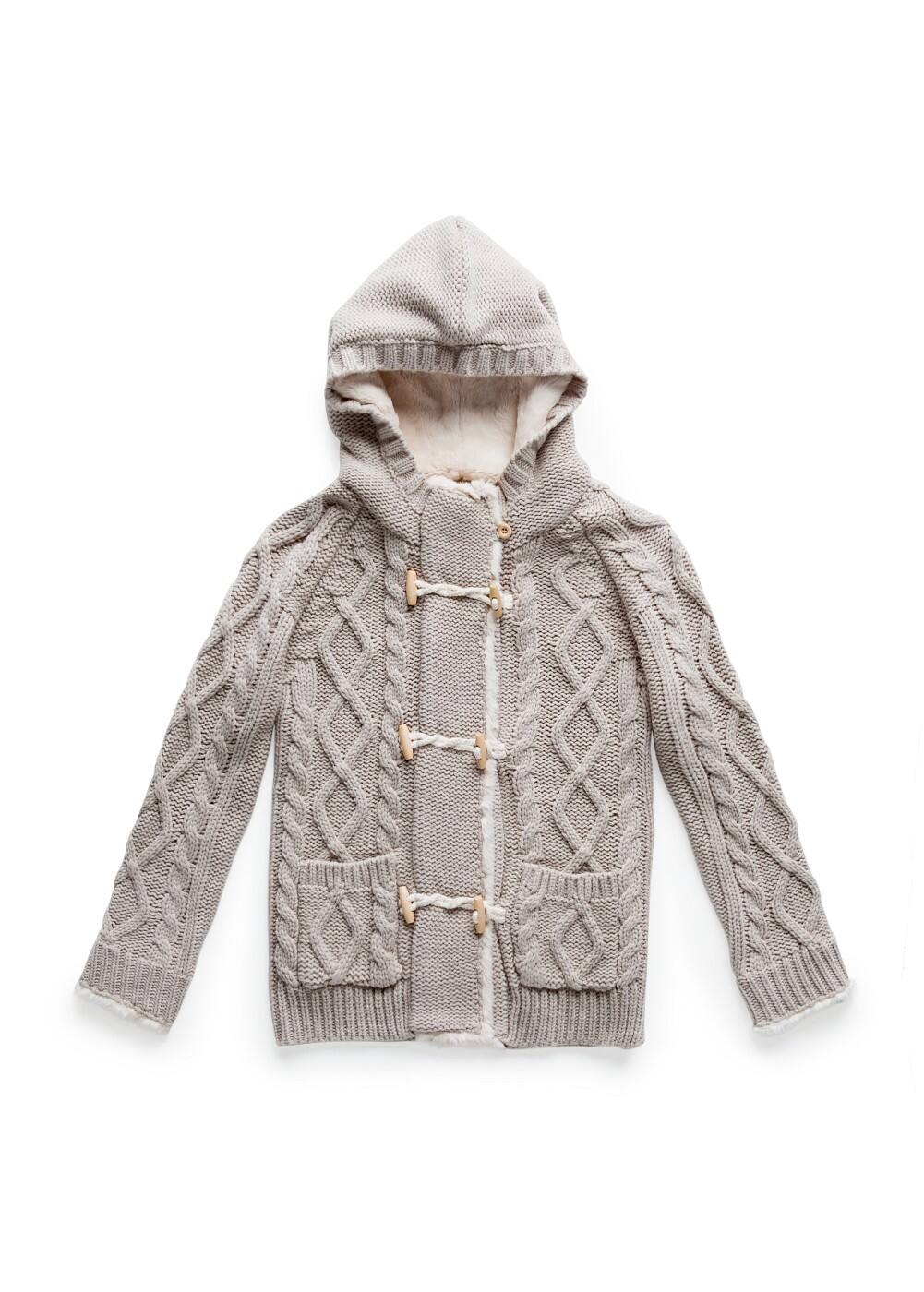 Hooded cable knit cardigan | MANGO