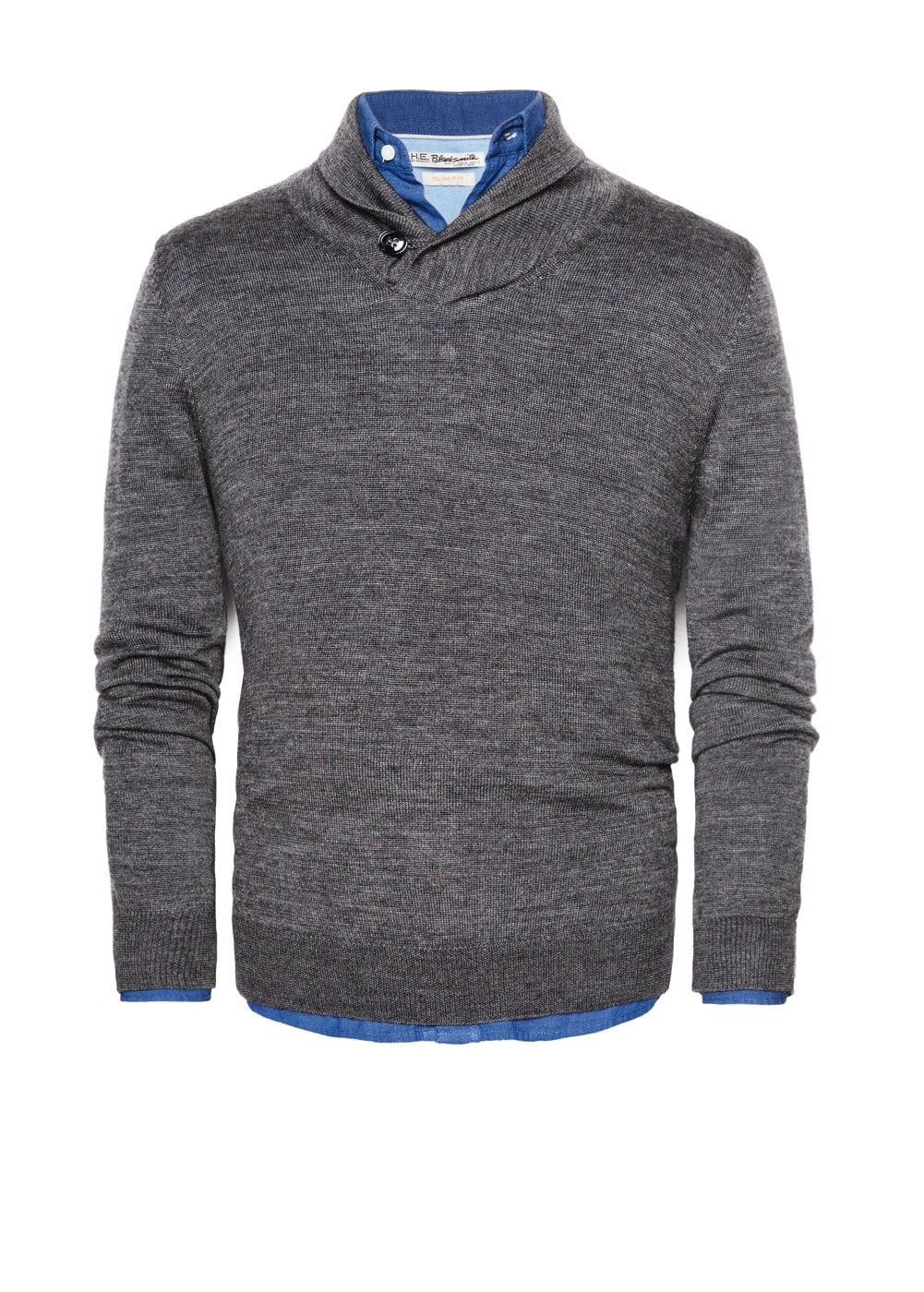 Shawl collar wool-blend sweater | MANGO MAN