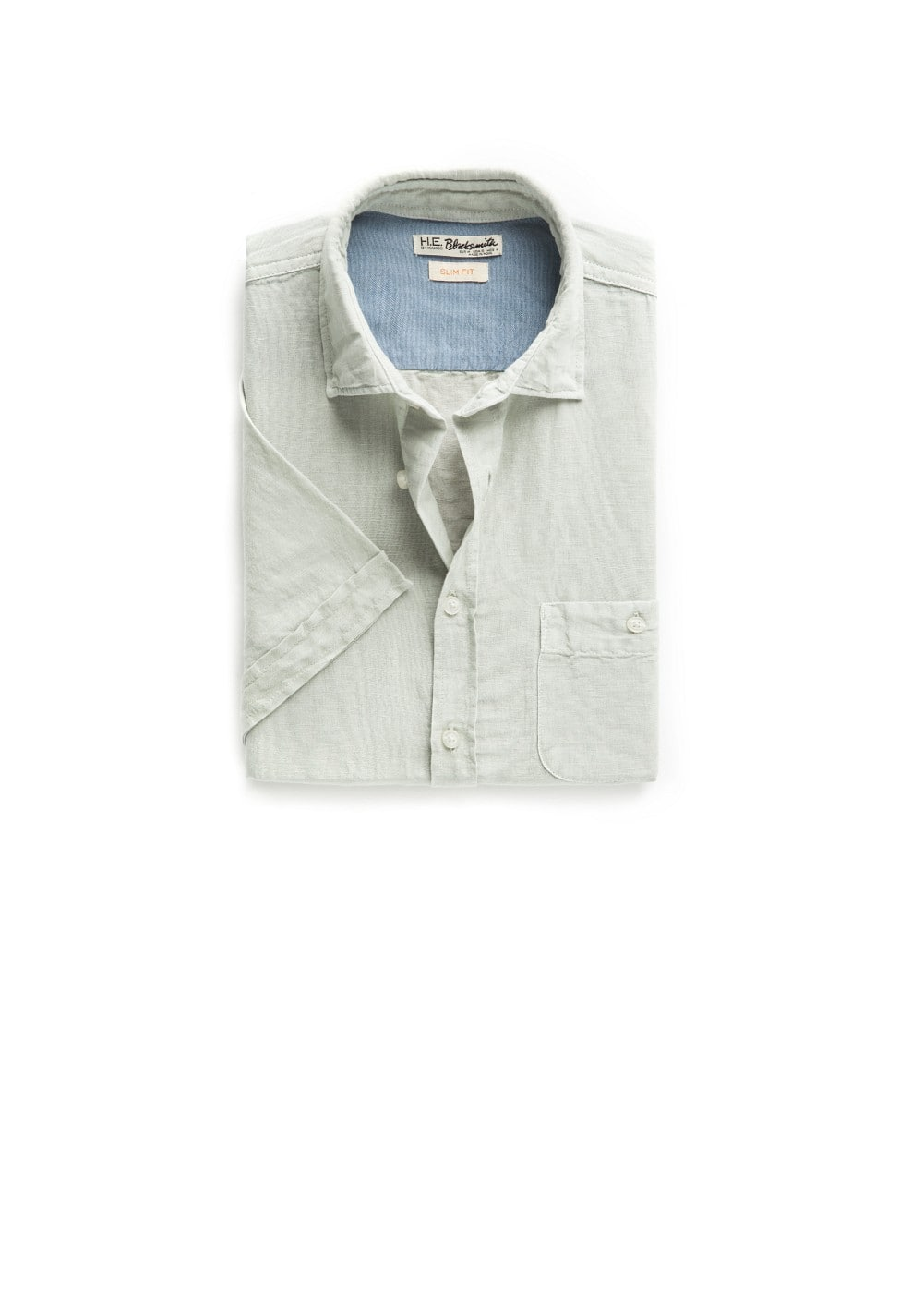 Slim-fit short sleeve linen-blend shirt | MANGO