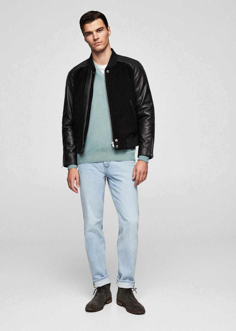 Mixed leather bomber jacket | MANGO MAN