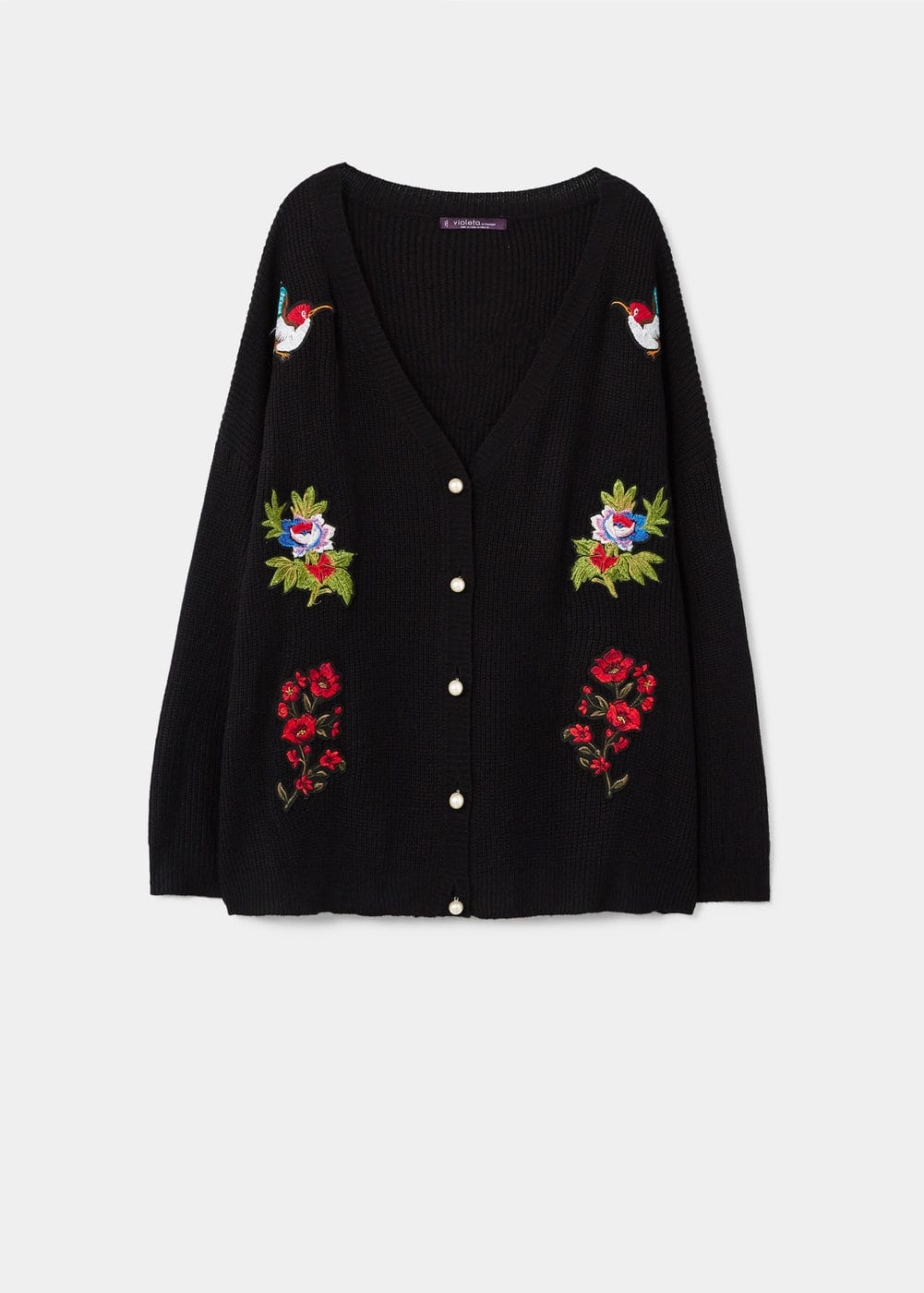 Decorative patches cardigan | VIOLETA BY MANGO