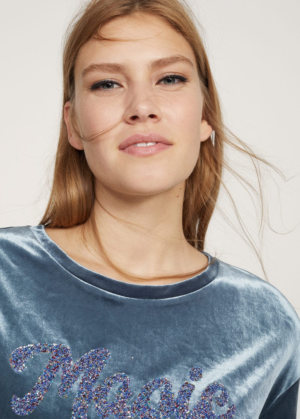 Velvet message t-shirt | MANGO