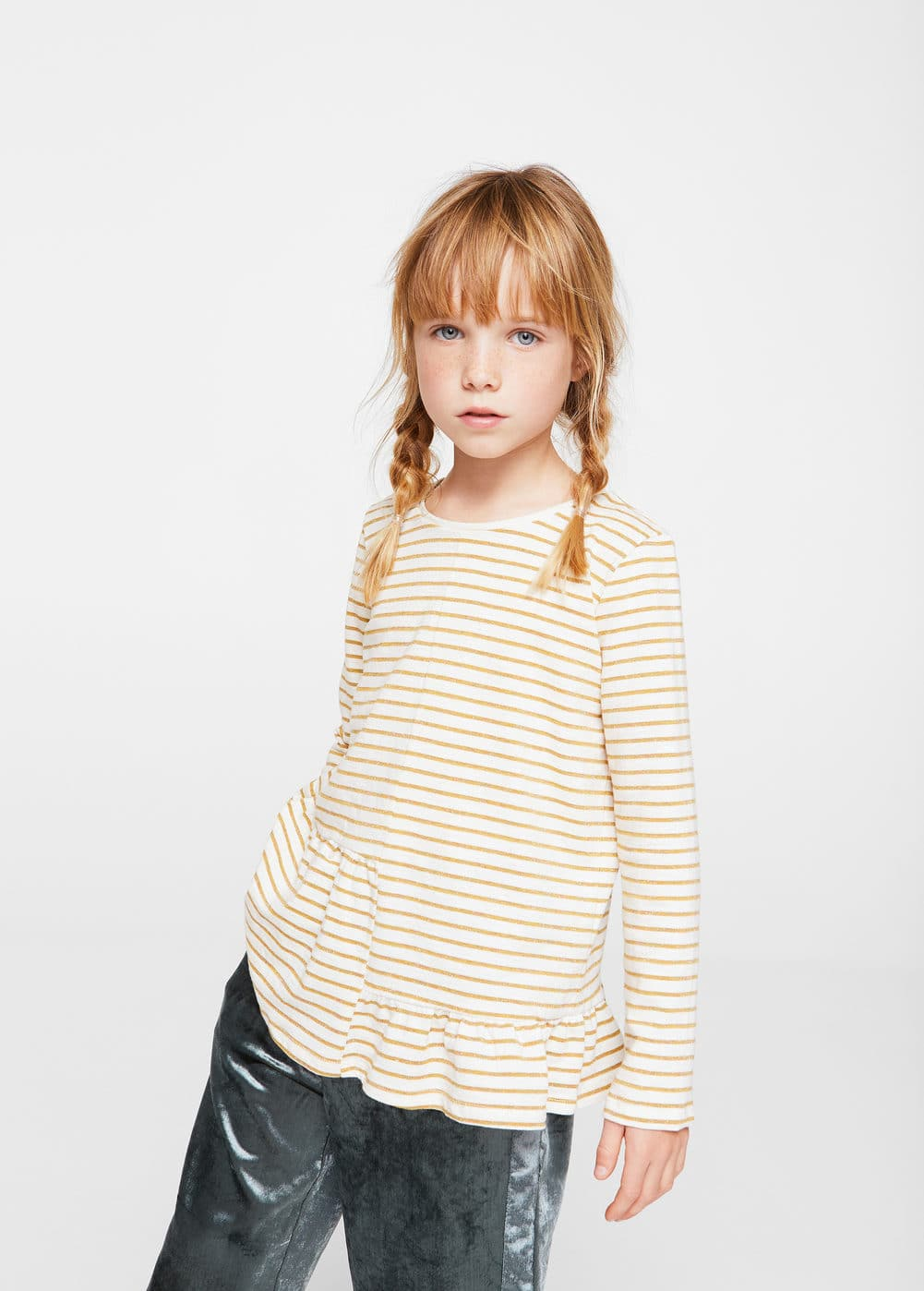 Striped asymmetric t-shirt | MANGO