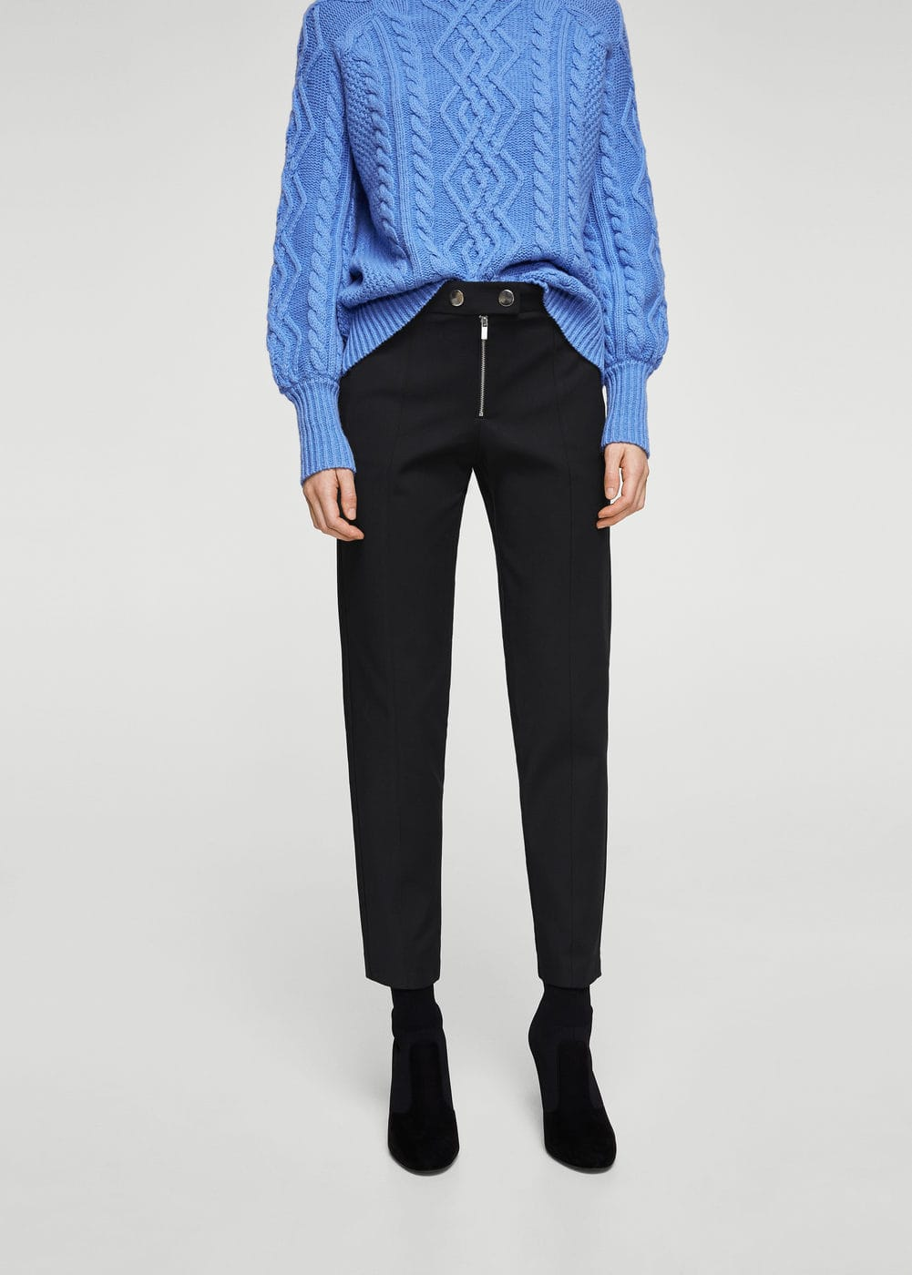 Zipped straight trousers | MANGO