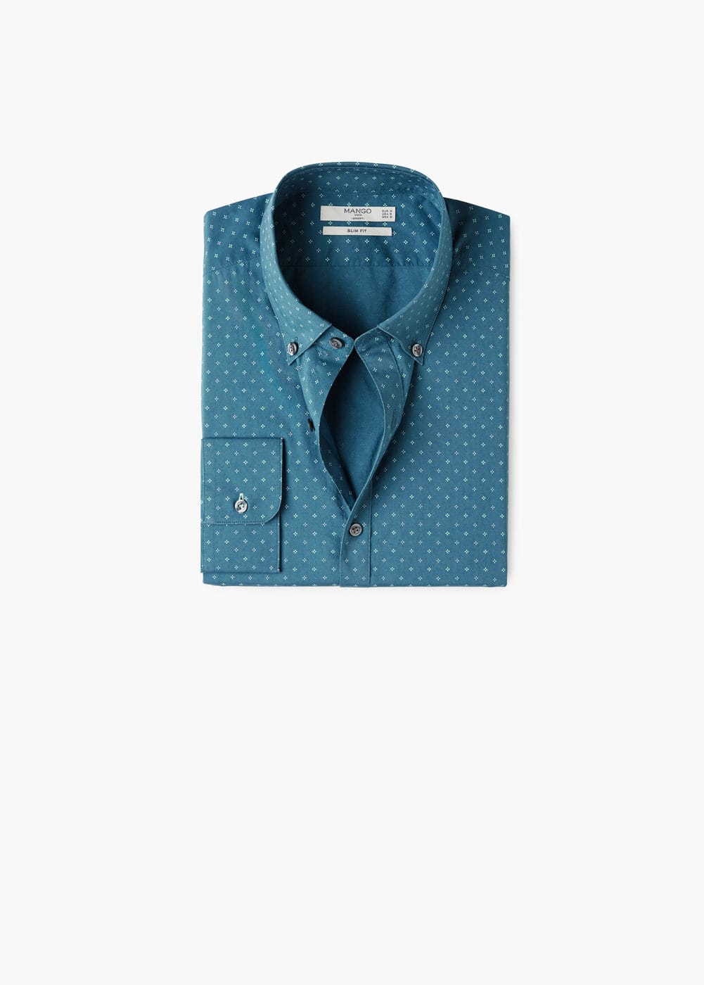 Camisa slim-fit algodón chambray estampada | MANGO