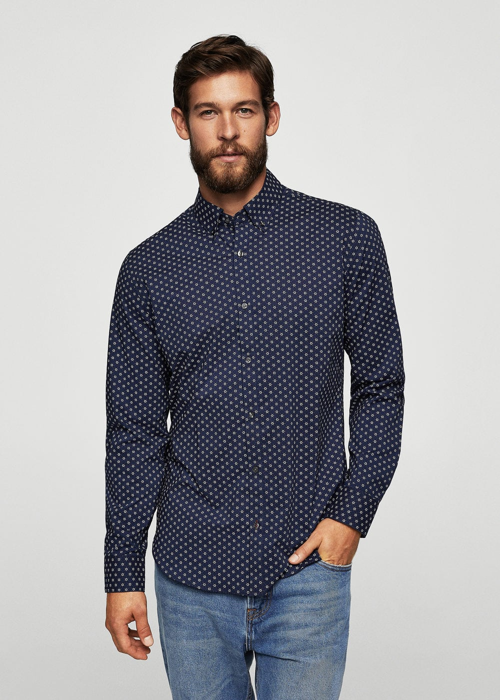 Camisa slim-fit estampado flores | MANGO