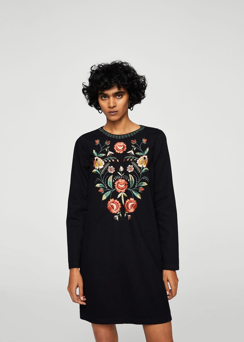 Flower embroidered denim dress | MANGO
