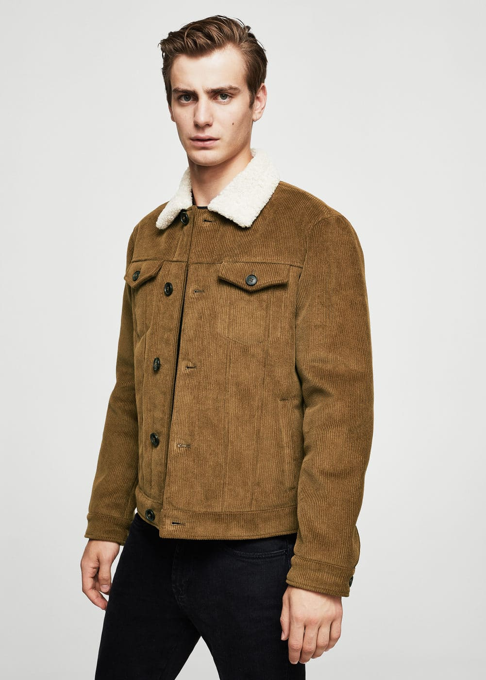 Corduroy cotton jacket | MANGO MAN