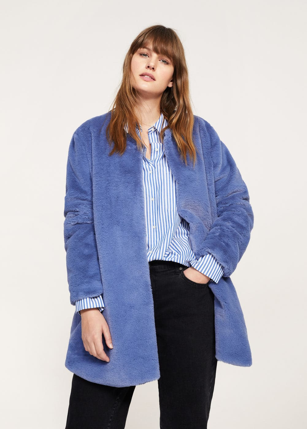 Faux fur coat | VIOLETA BY MANGO