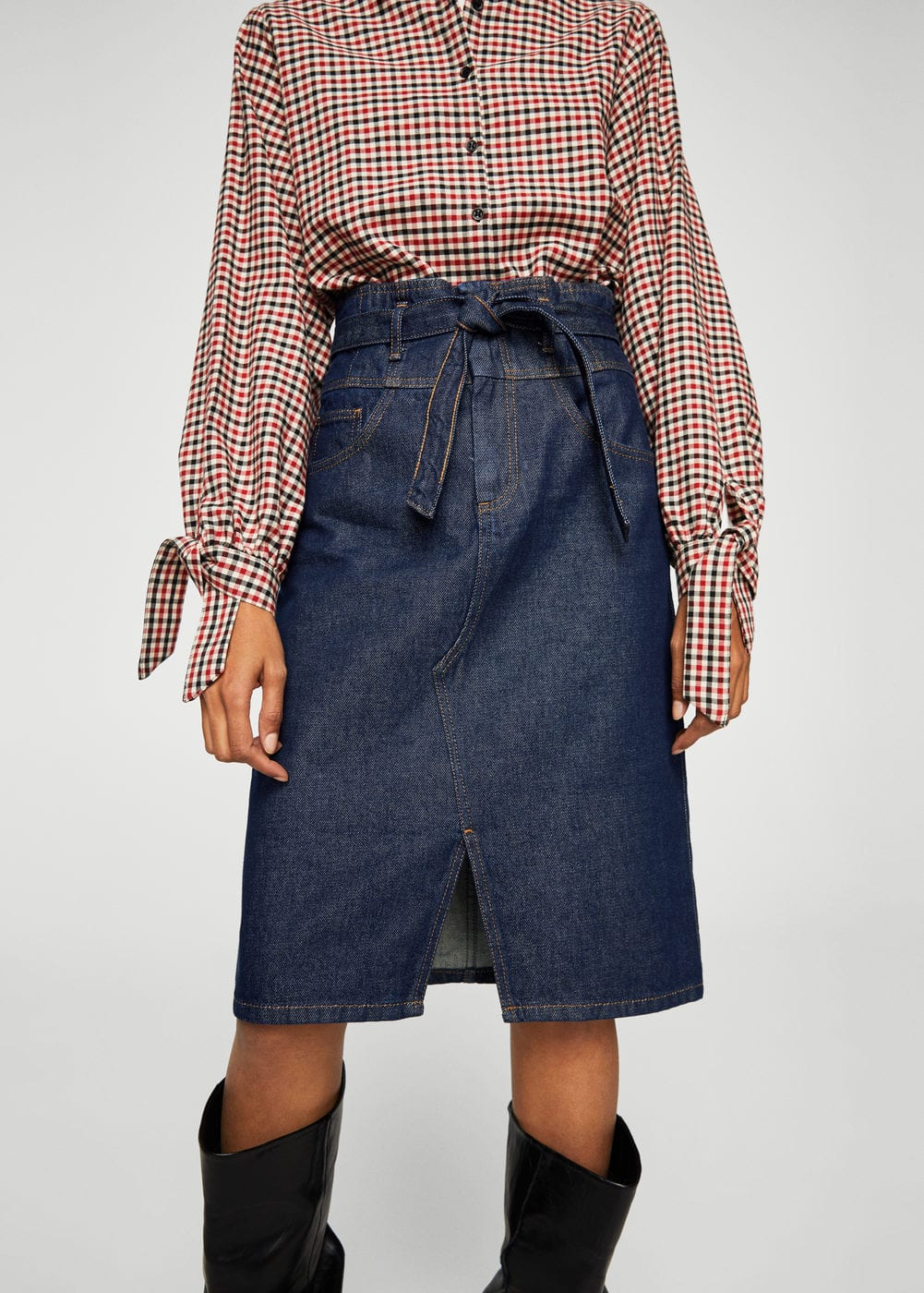 Denim organic cotton skirt | MANGO