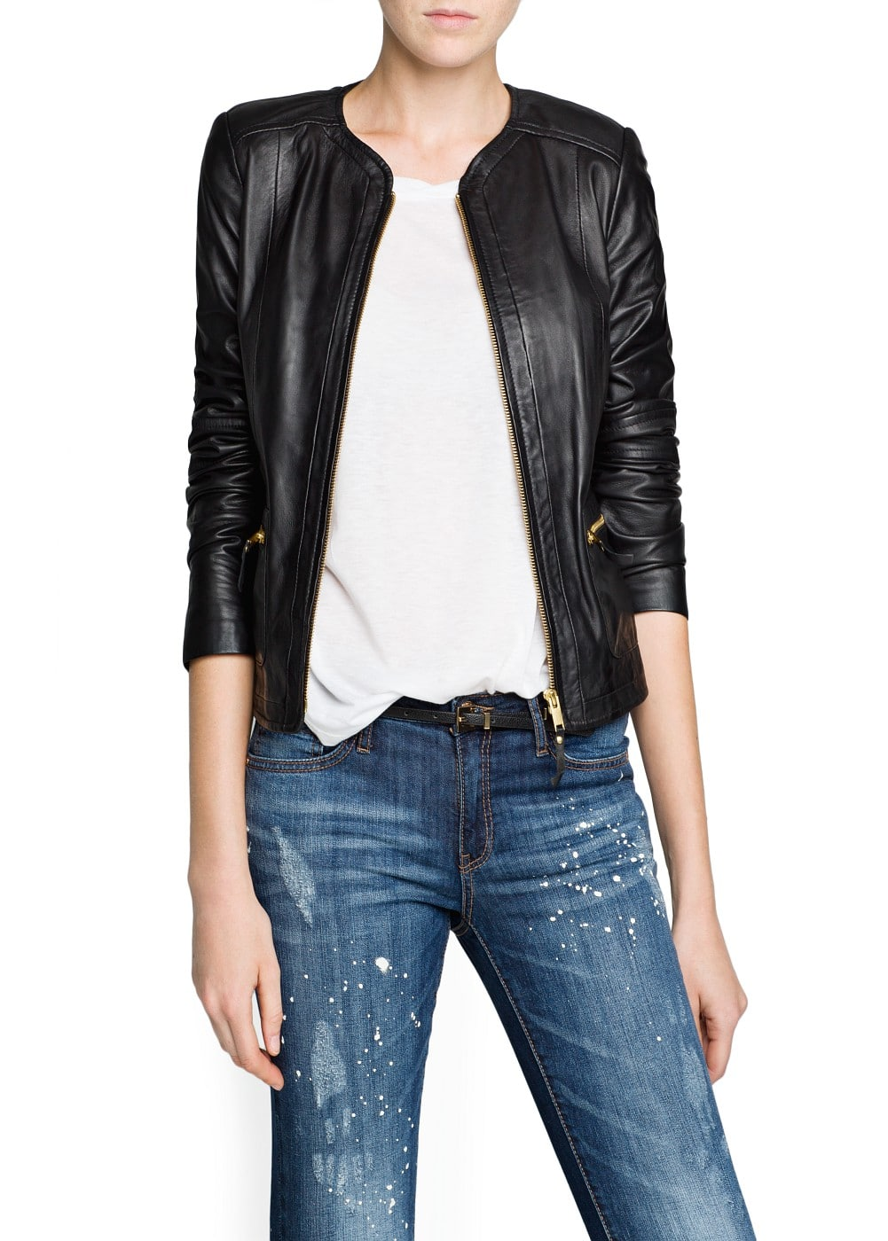 Zippers leather jacket | MANGO