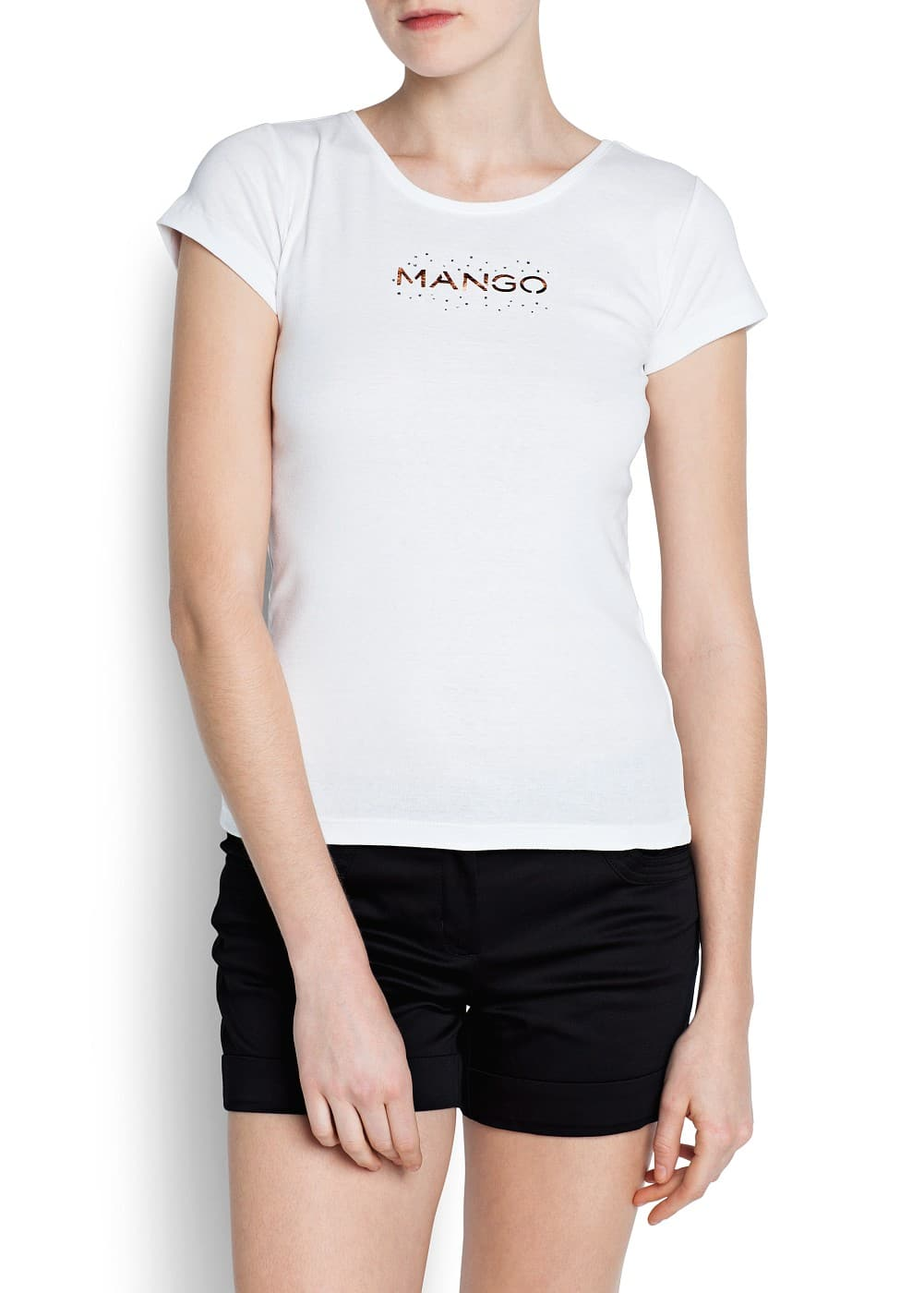 Strass logo short sleeved t-shirt | MANGO