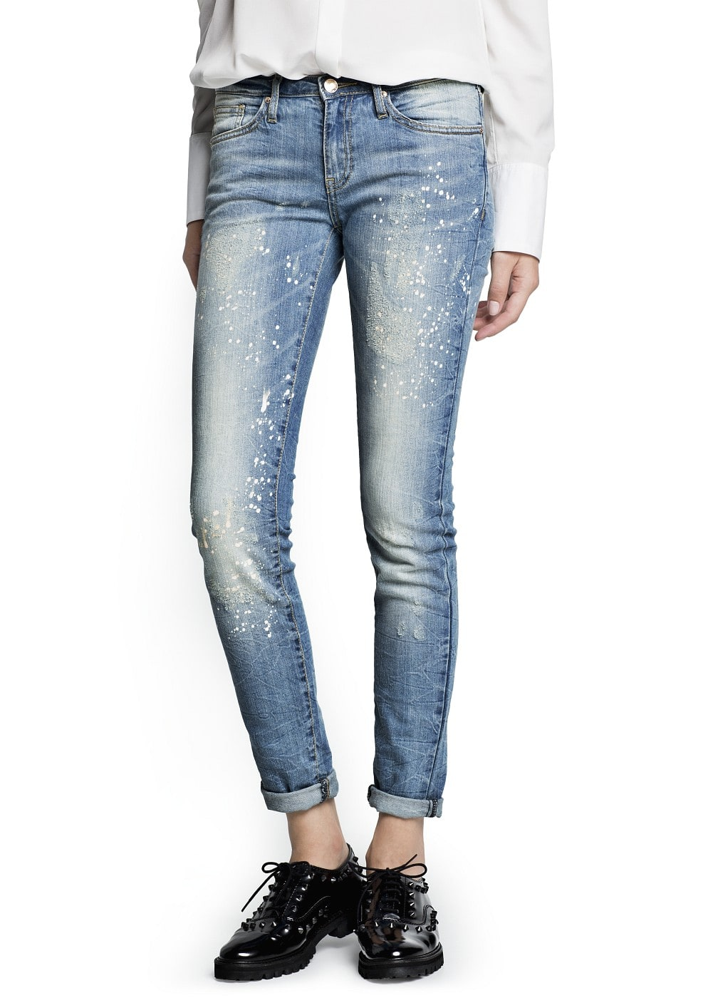 Slim-fit cropped vintage wash jeans | MANGO