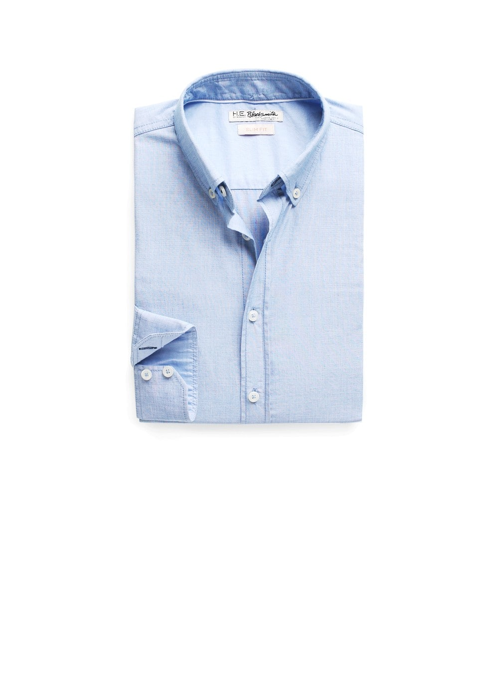 Slim-fit end-on-end shirt | MANGO MAN