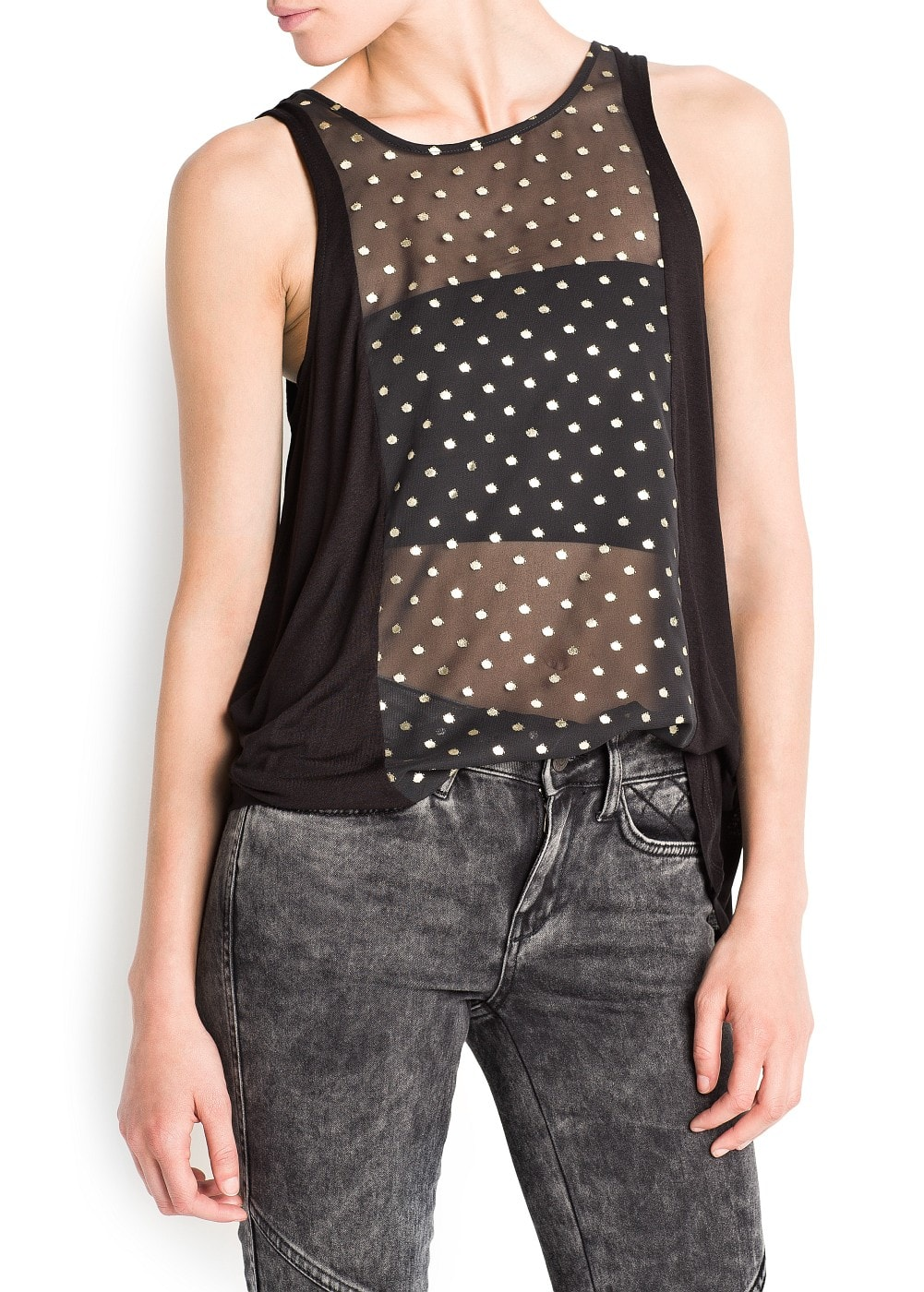 Metallic polka-dot top | MANGO
