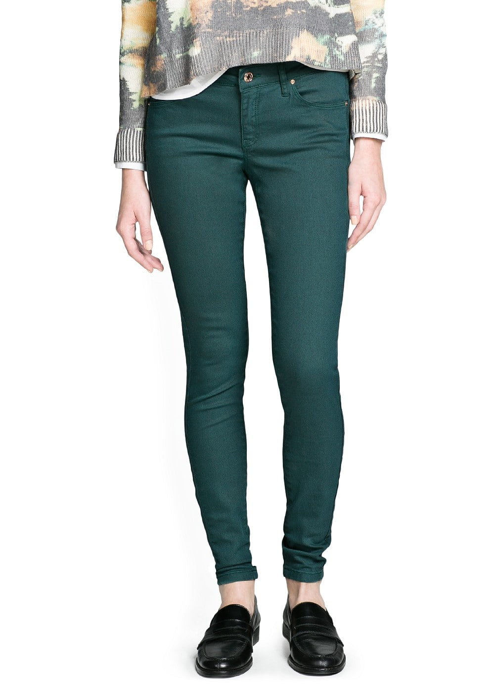 Super slim-fit green jeans | MANGO