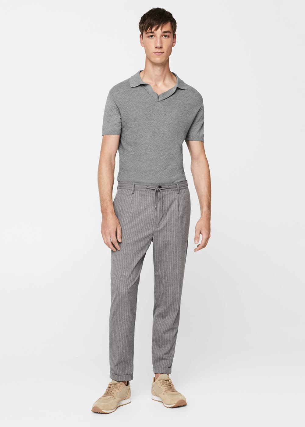 Textured-panel cotton polo shirt | MANGO MAN