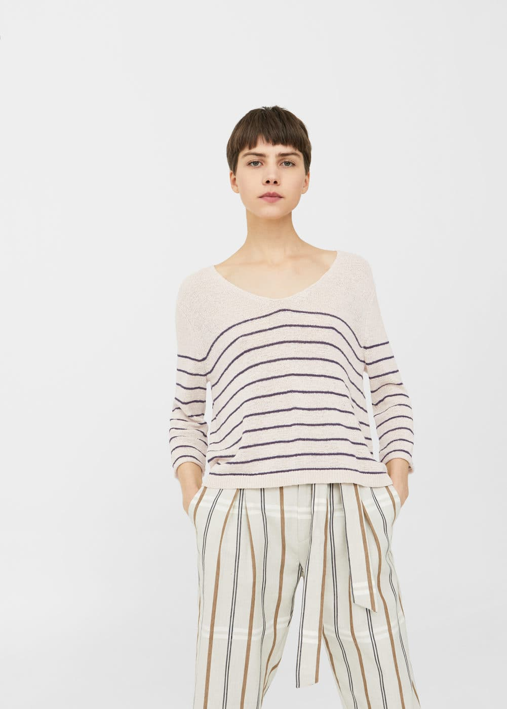 Stripe textured sweater | MANGO