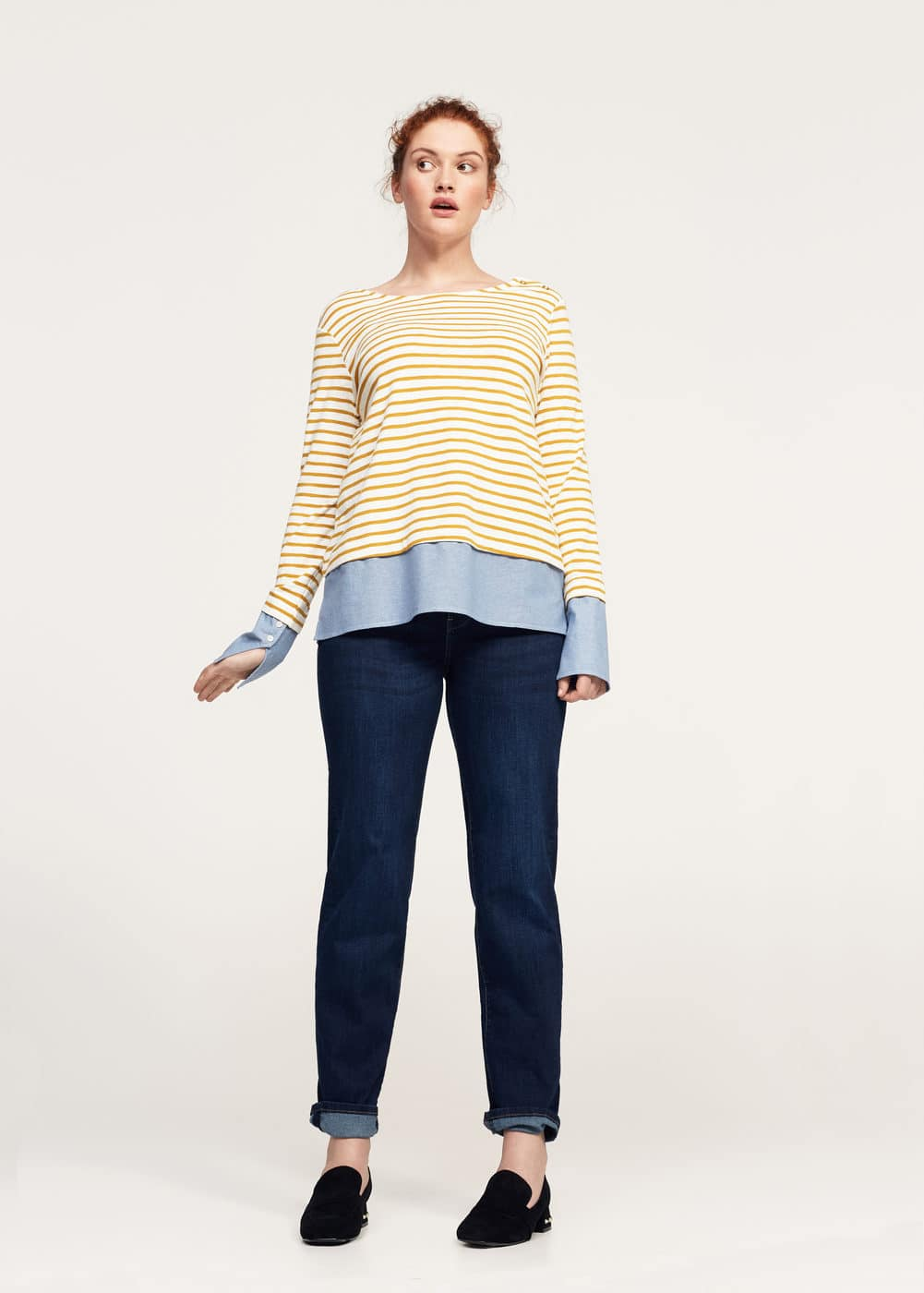 Striped combi sweatshirt | VIOLETA BY MANGO