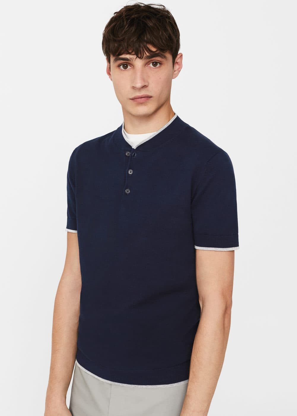 Button-down collar polo shirt | MANGO