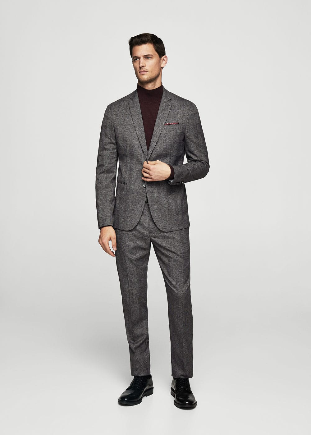 Super slim-fit prince of wales suit trousers | MANGO