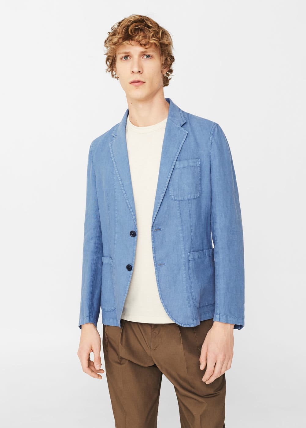 Slim-fit linen blazer | MANGO MAN