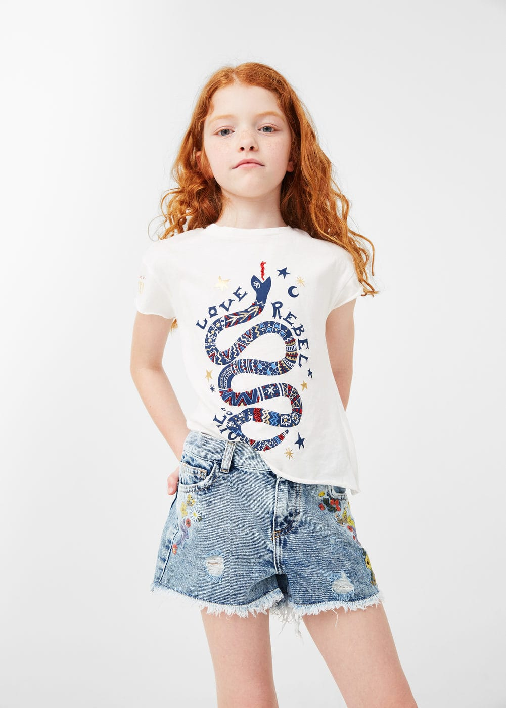 Embroidered denim short | MANGO KIDS