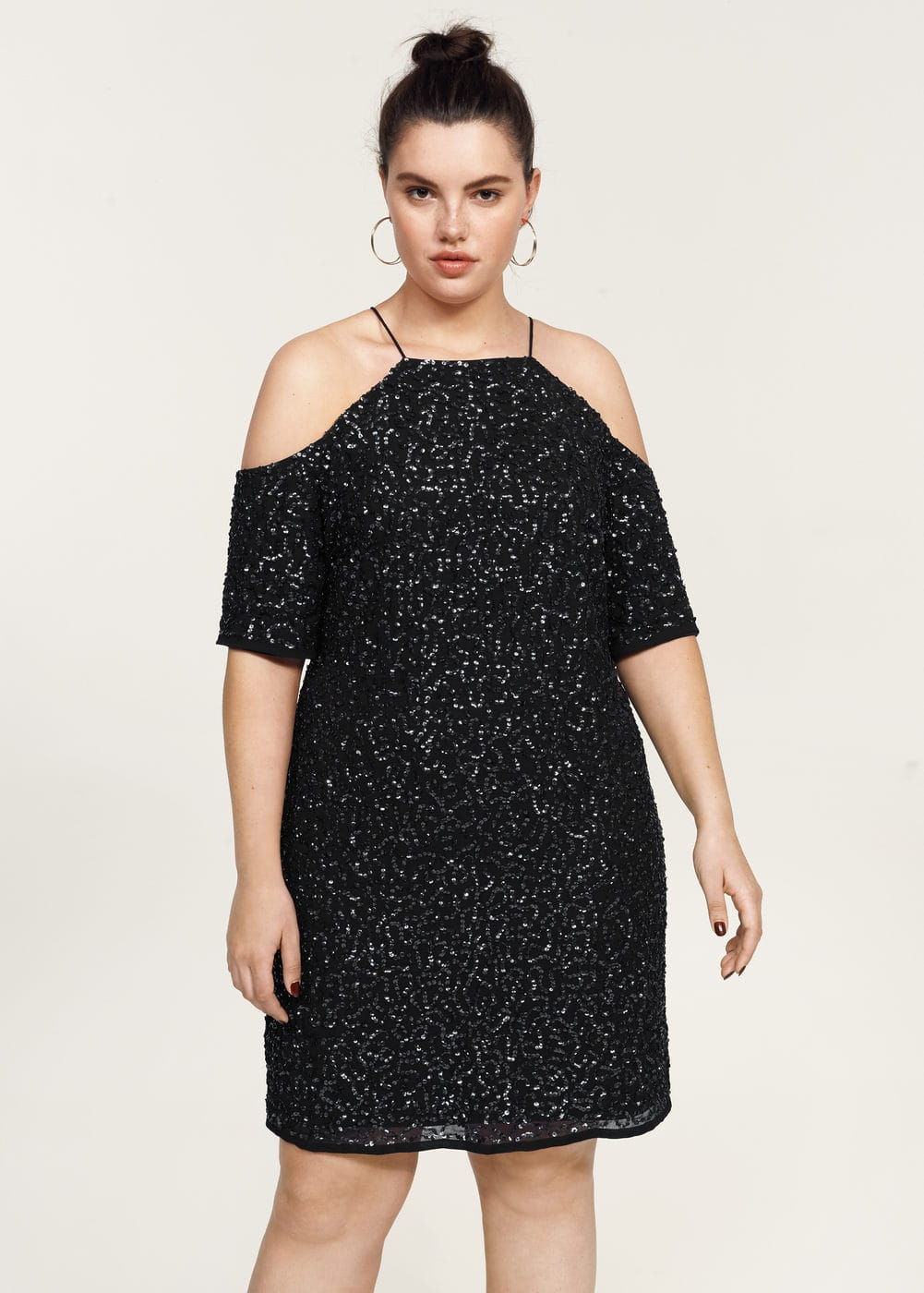 Sequins off-shoulder dress | VIOLETA BY MANGO