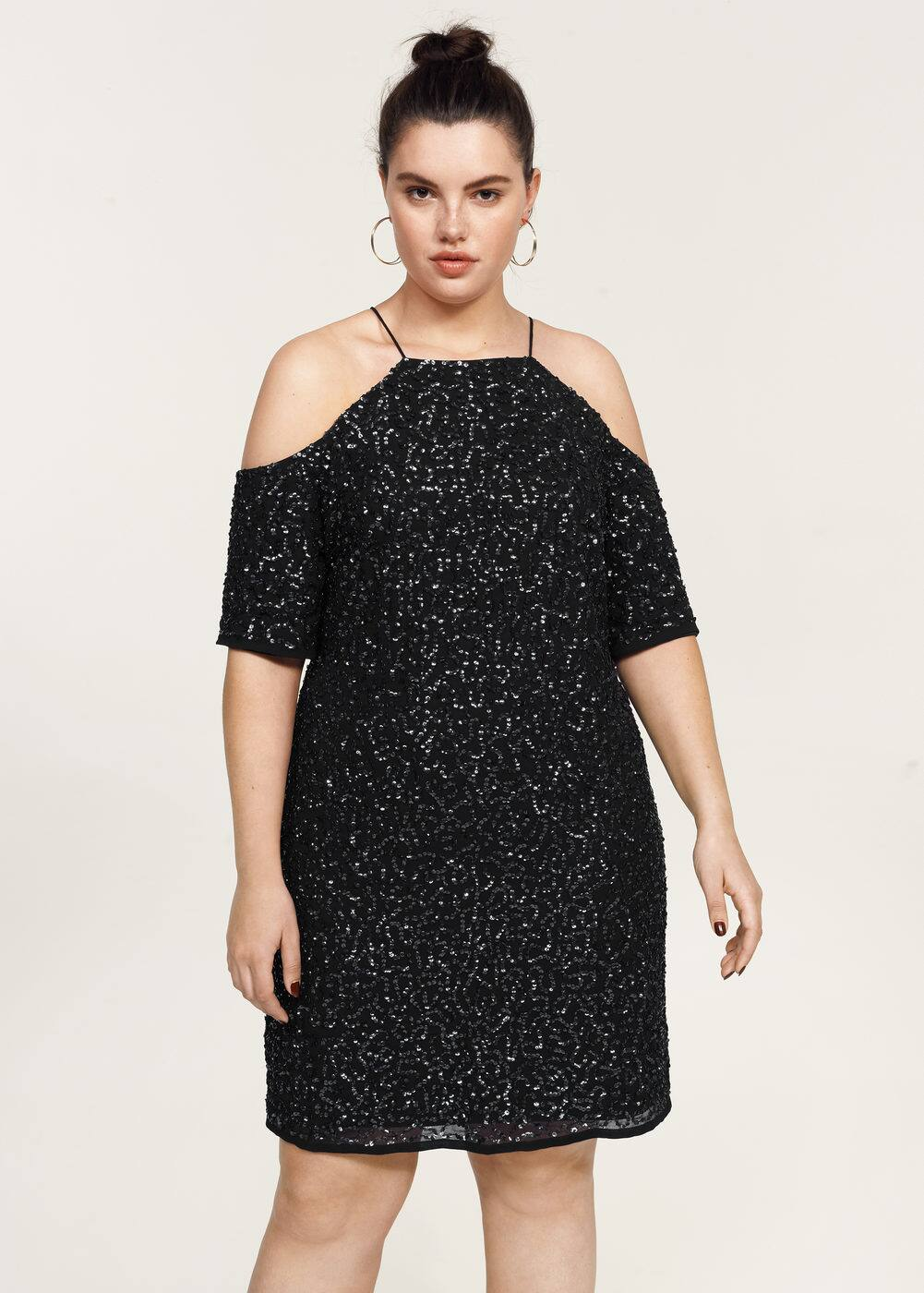 Sequins off-shoulder dress | MANGO