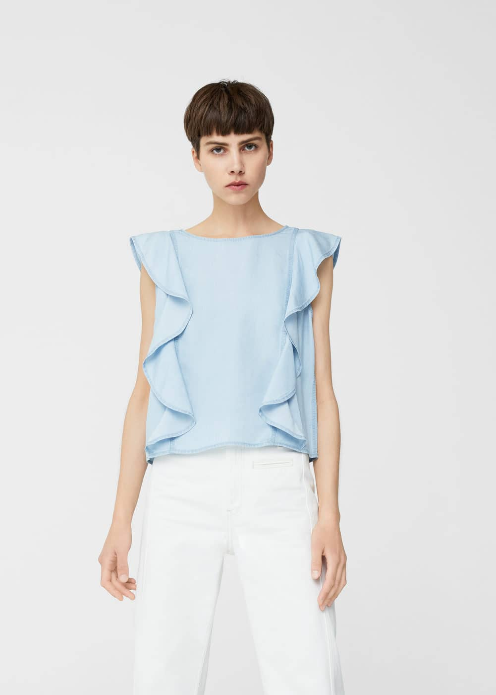 Blouse denim volant | MANGO