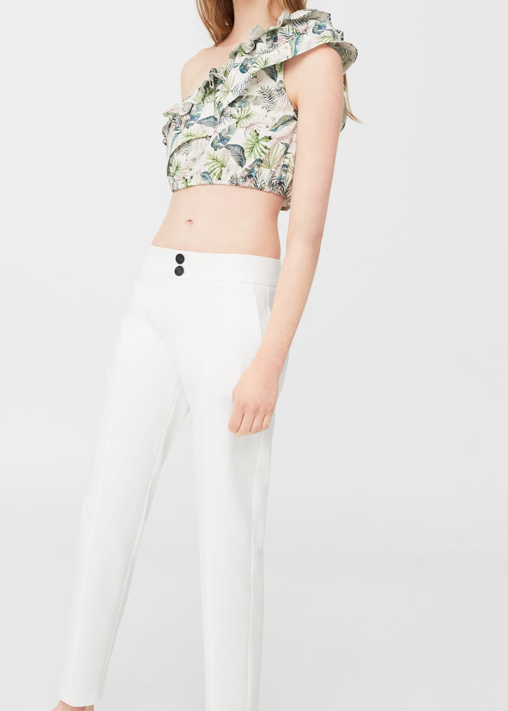 Straight-cut crop trousers | MANGO