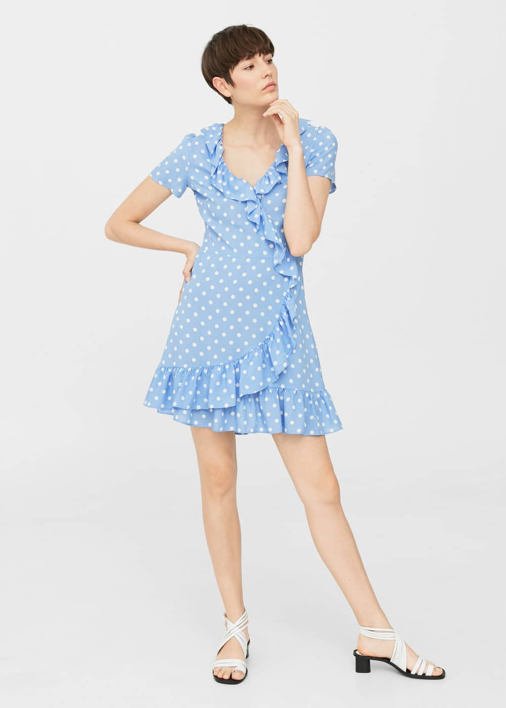 Polka-dot ruffled dress | MANGO