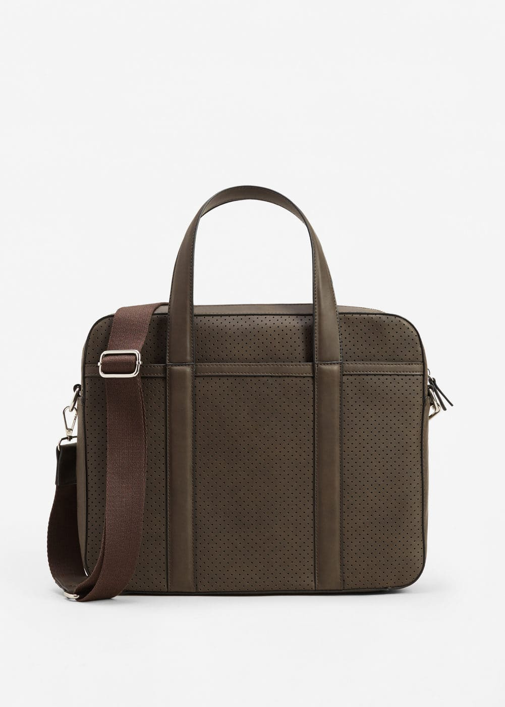 External pocket pebbled briefcase | MANGO
