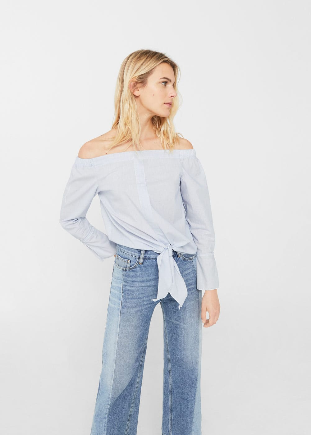 Off-shoulder knot blouse | MANGO