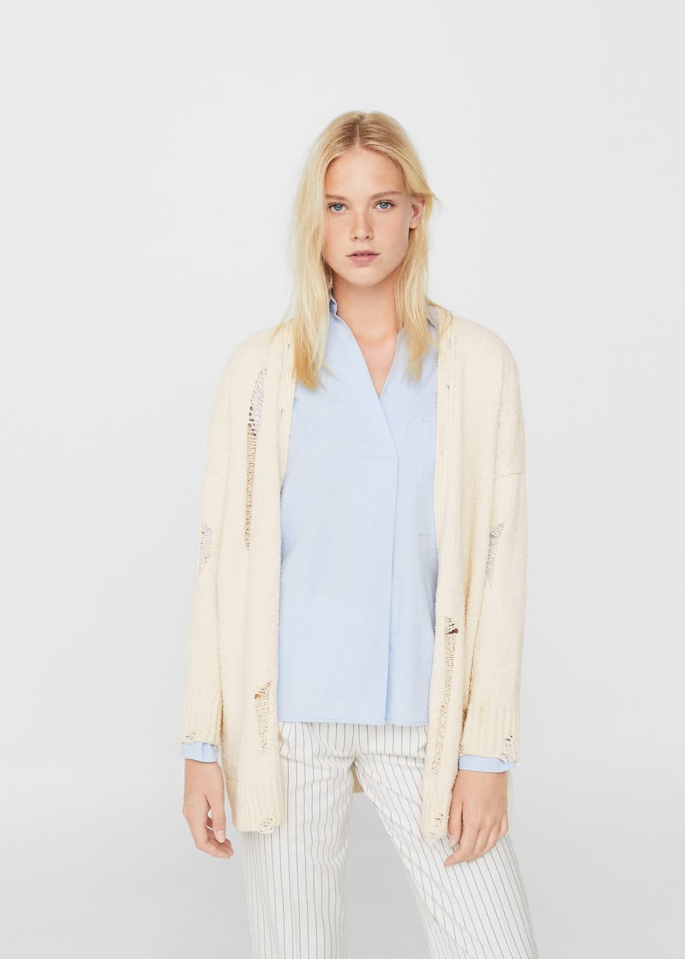 Decorative rips cotton jacket | MANGO