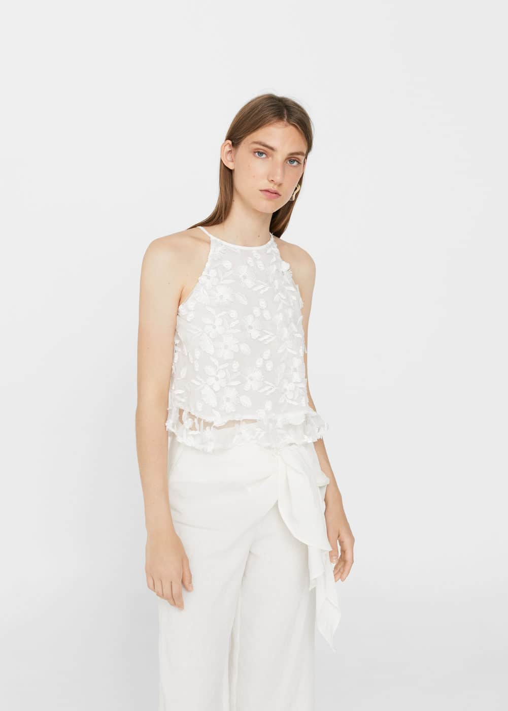 Tulle embroidery top | MANGO